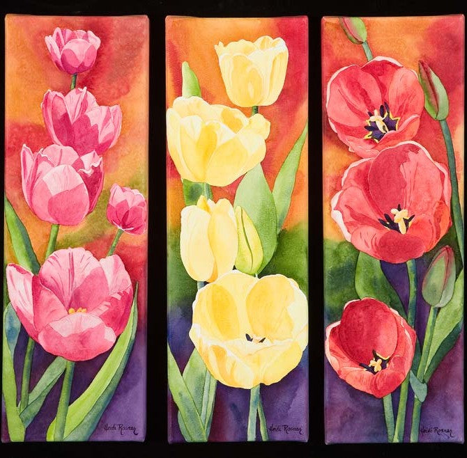 Pink, Red and Yellow Tulip Triptych