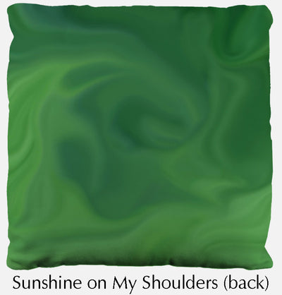 Sunshine on My Shoulders throw pillow, sunflower throw pillow back, Heidi Rosner