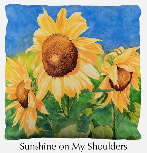 Sunshine on My Shoulders throw pillow, sunflower throw pillow front, Heidi Rosner