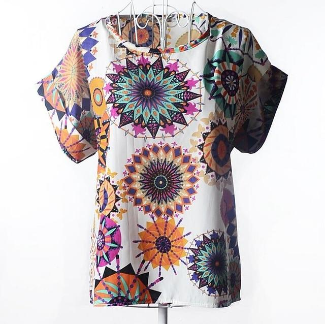 Cuhakci New 2019 Polyester Blouses Women Summer Tops And Shirts Feather  Blouse Female Short Sleeve