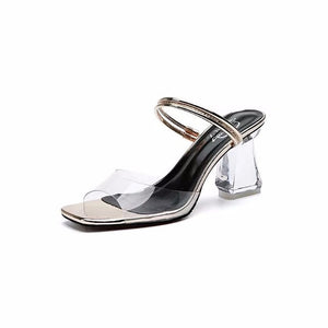 edc97b8066 QZUnique Women's Crystal Chunky High Heels Sandals Linear Shape Transparent  Upper Square Peep Toes With Strape