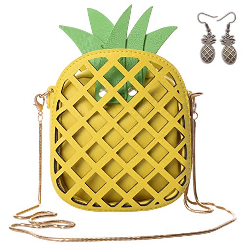 05c8ec698fad QZUnique Women's PU Pineapple Shape Hollow Out Casual Cross body Handbag  Purse