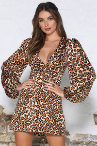 Daryl Dress - Orange Leopard