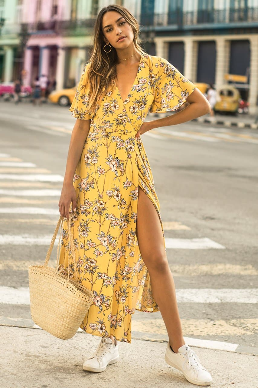 TALULAH WRAP DRESS - YELLOW PRINT
