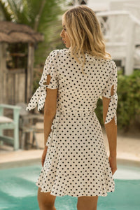 ELLA SS WRAP DRESS - BLACK SPOT