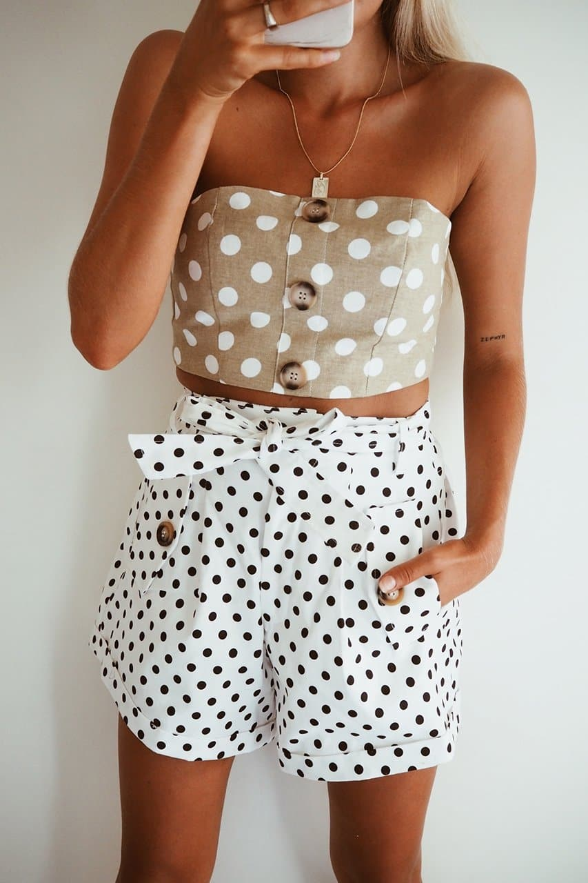 FRENCHIE SHORTS - WHITE SPOT