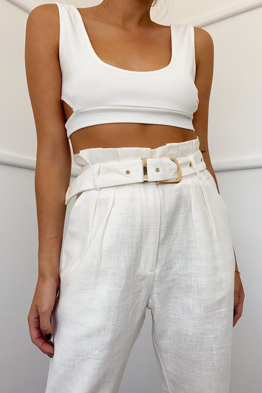 BELLE PAPERBAG PANTS - WHITE