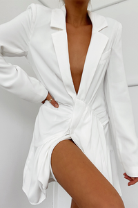 ANTONIA BLAZER DRESS - WHITE