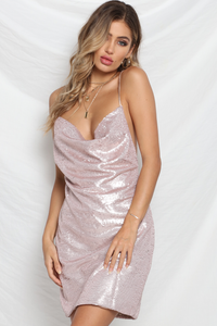 Bijou Sequin Dress - Pink