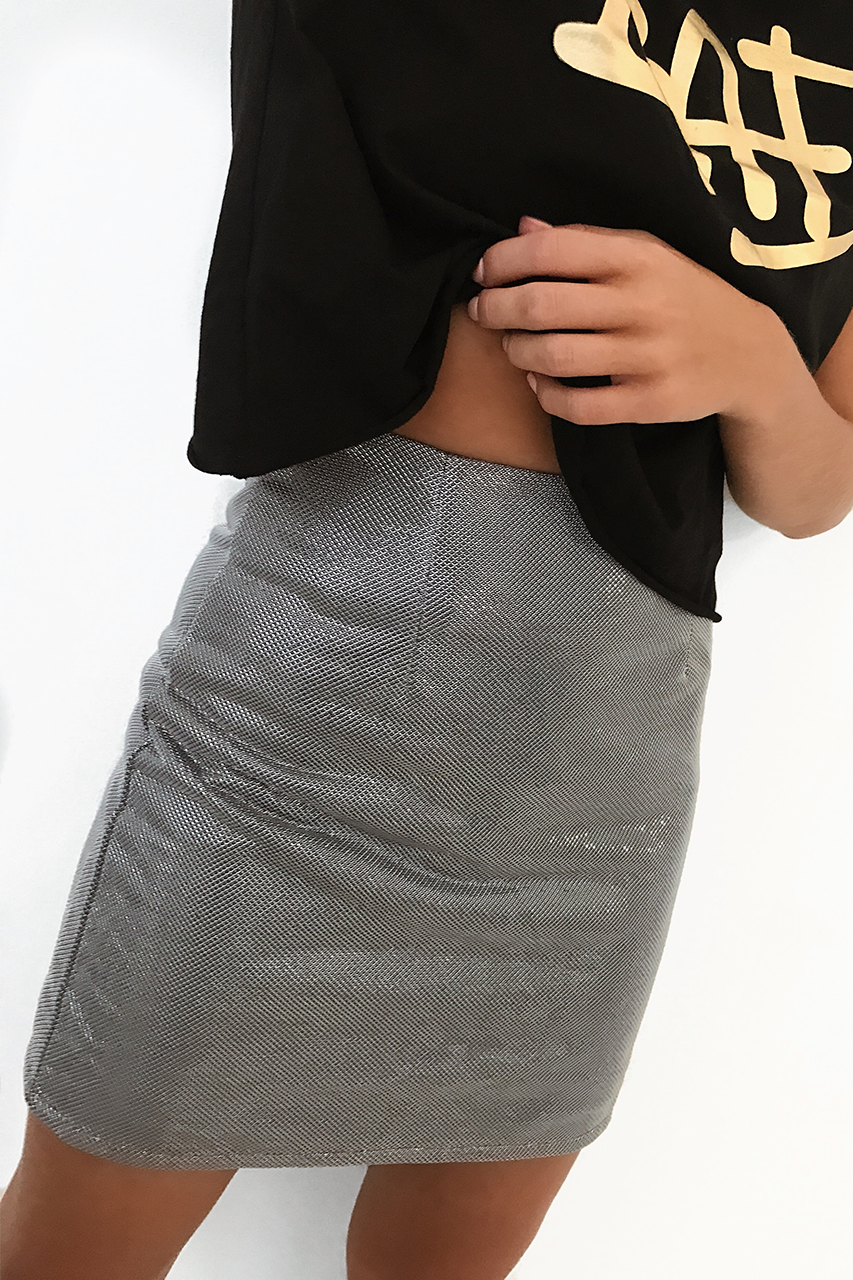 SPARKLE MINI SKIRT - SILVER