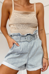 Rose Knit Top - Sand