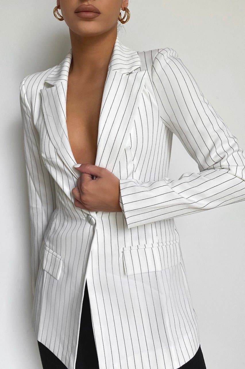 Every Woman Blazer - White Pinstripe