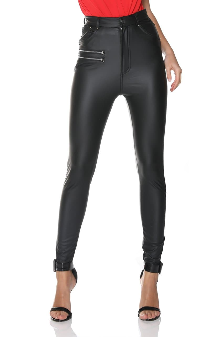 PU LEATHER BIKER PANTS - BLACK