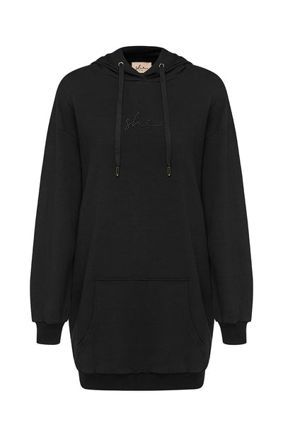 Cara Hoodie Dress - Black