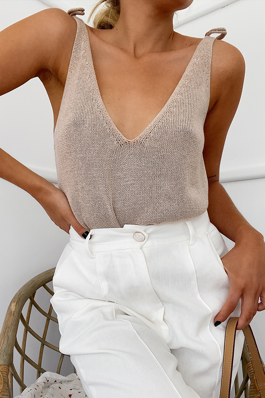 Ellie Knit Cami - Oatmeal