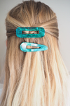 Chunky Hair Clips - Emerald