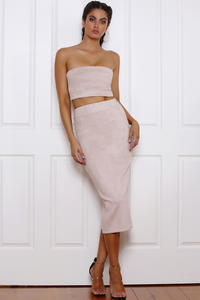 Rhythm Suede Tube Top - Dusty Pink