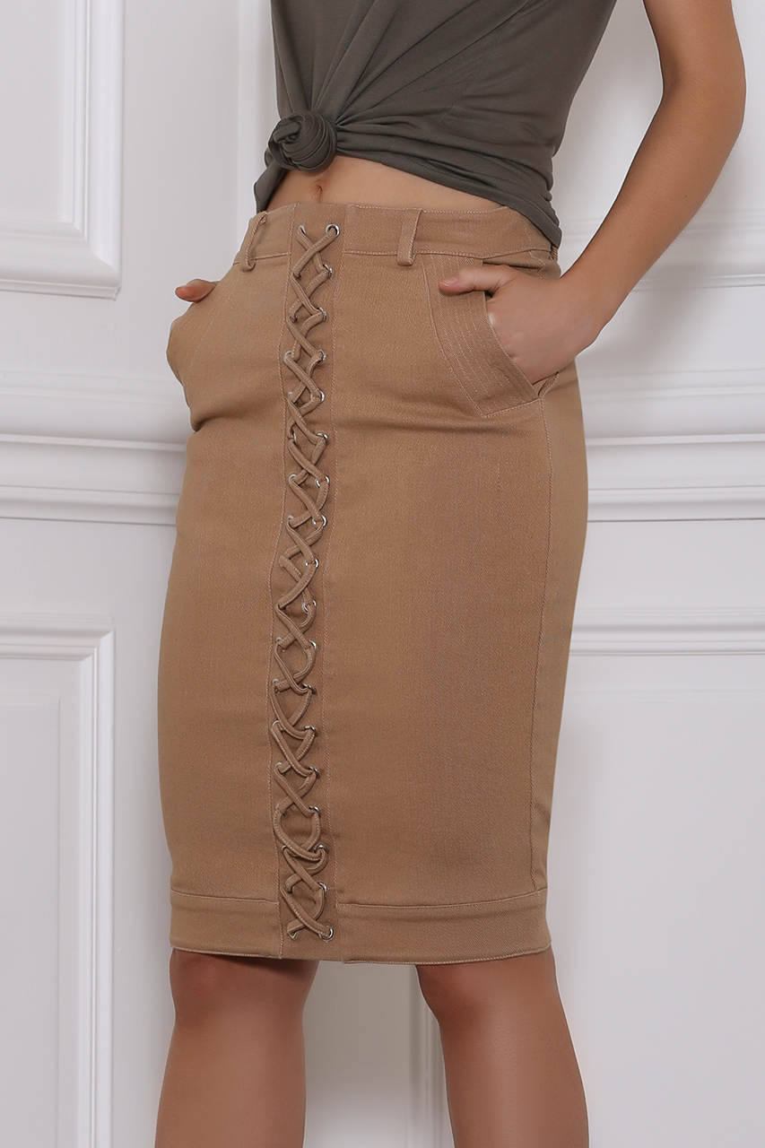 Remi Denim Skirt - Tan