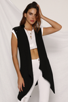 Platinum Sleeveless Waterfall - Black