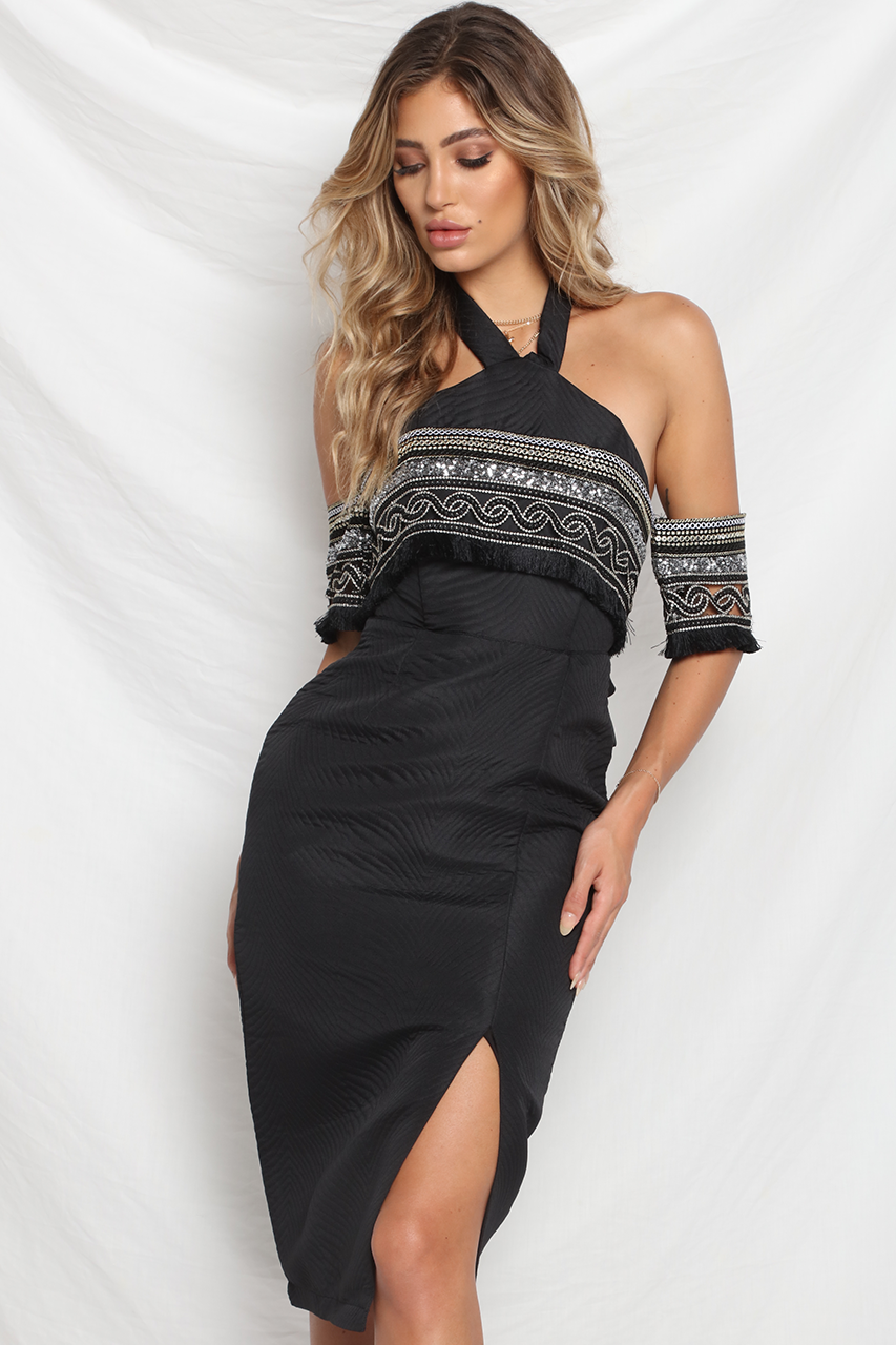 Shine Bright Midi Dress - Black