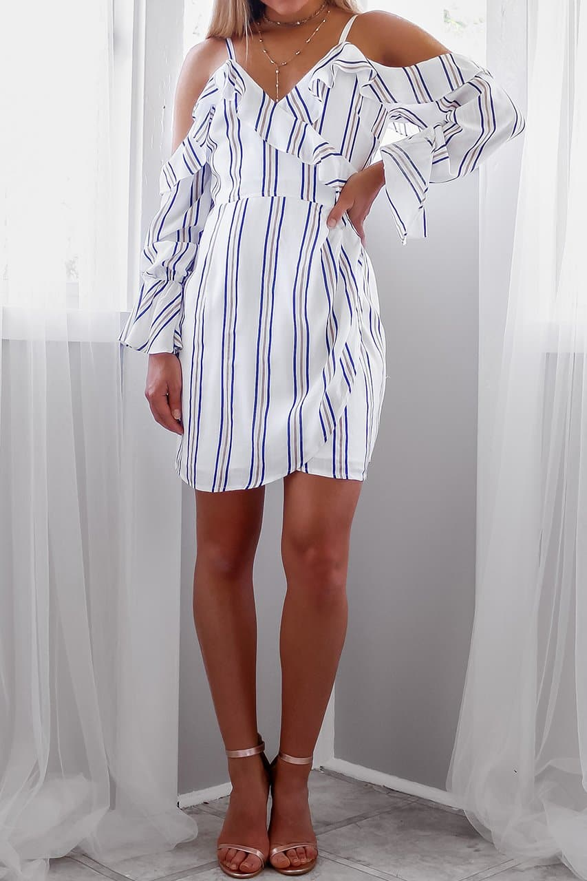 HUNTINGTON WRAP DRESS - STRIPE