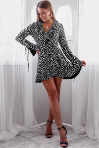FREYA WRAP MINI DRESS-BLACK SPOT