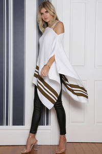 ALL MINE PONCHO - WHITE/KHAKI