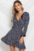 Freya Wrap Mini Dress-Navy Spot