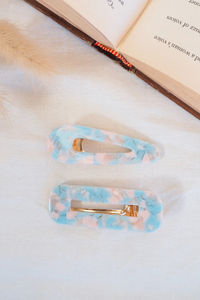 Chunky Hair Clips - Speckled Blue