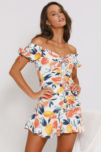 Marilla Laced Dress - Citrus Print