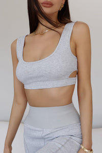 Azra Crop Top - Grey Marle