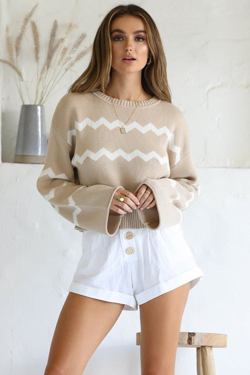 NOAH CROPPED KNIT - BEIGE