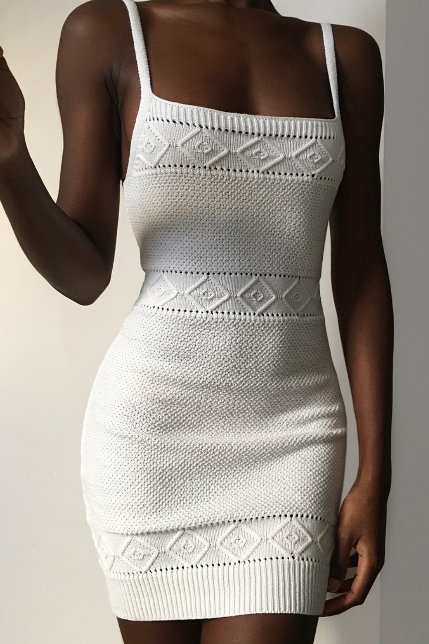 Rose Knit Dress - White