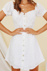 Maria Linen Blend Dress - White