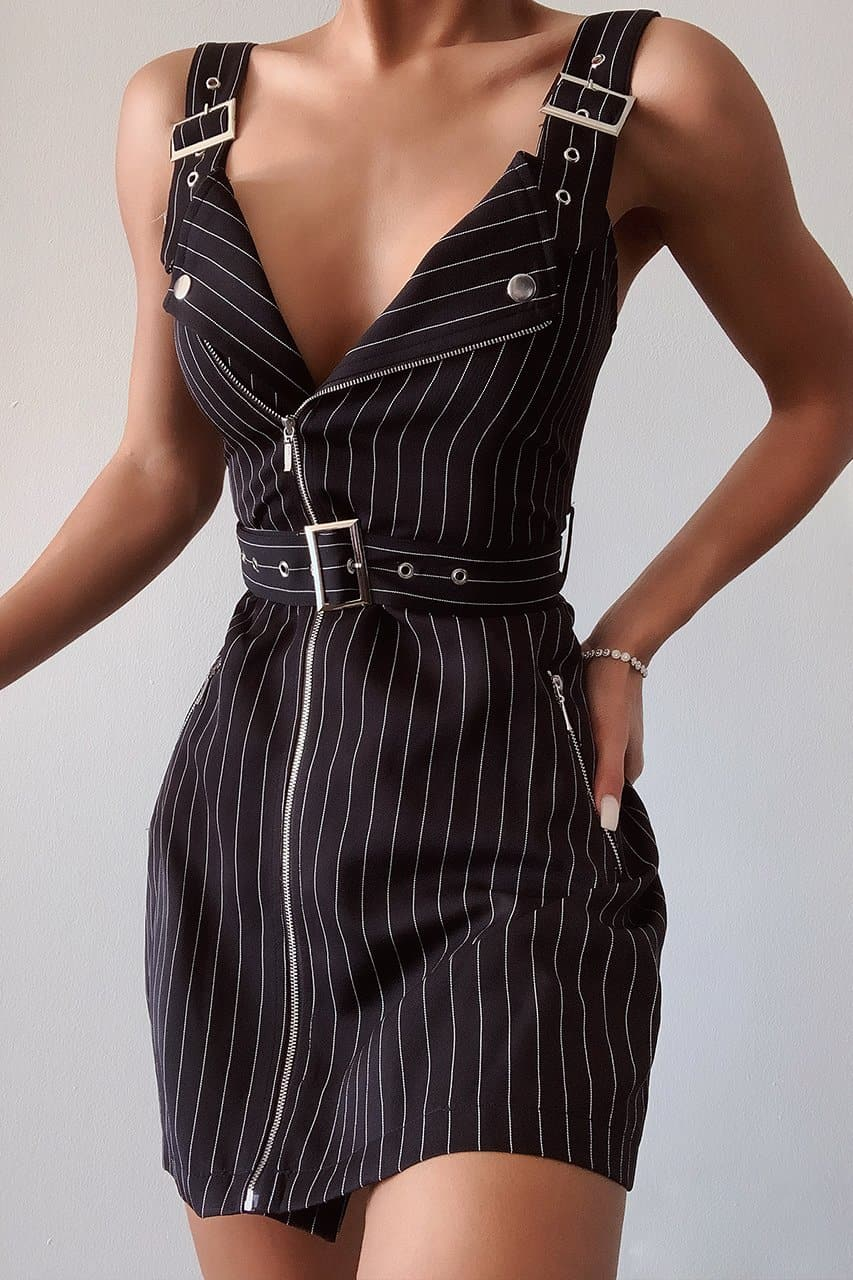 PARKER PINSTRIPE MINI DRESS-BLACK