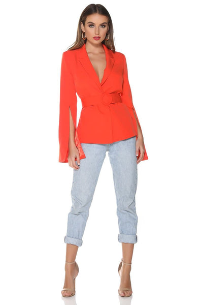 Scarlet Split Sleeve Blazer - Bright Red