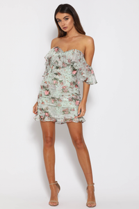 ORIANA DRESS - MINT FLORAL