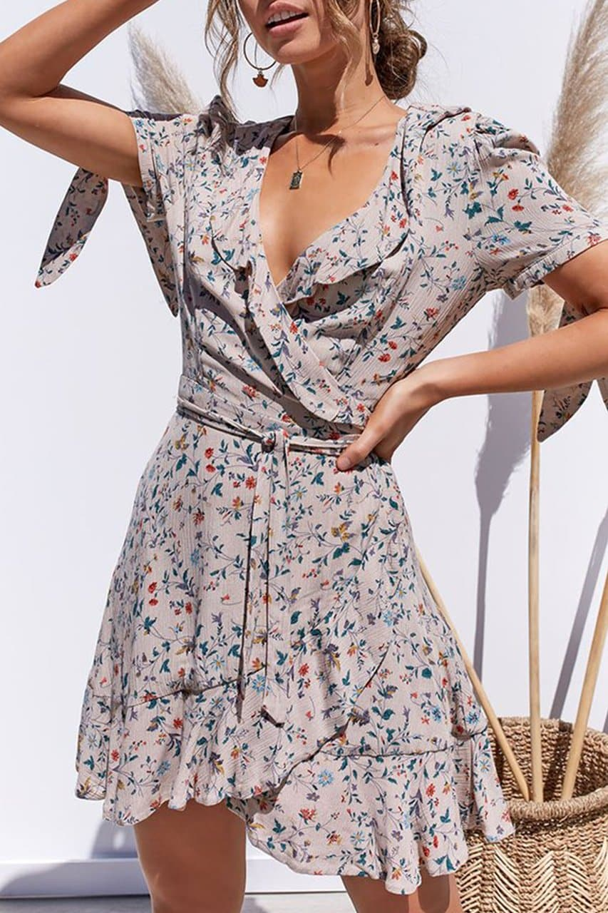 ADELINE WRAP DRESS - BLUSH FLORAL