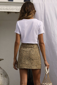 Wild Thang Denim Mini Skirt - Leopard