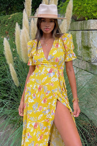 Jolene Wrap Dress - Yellow