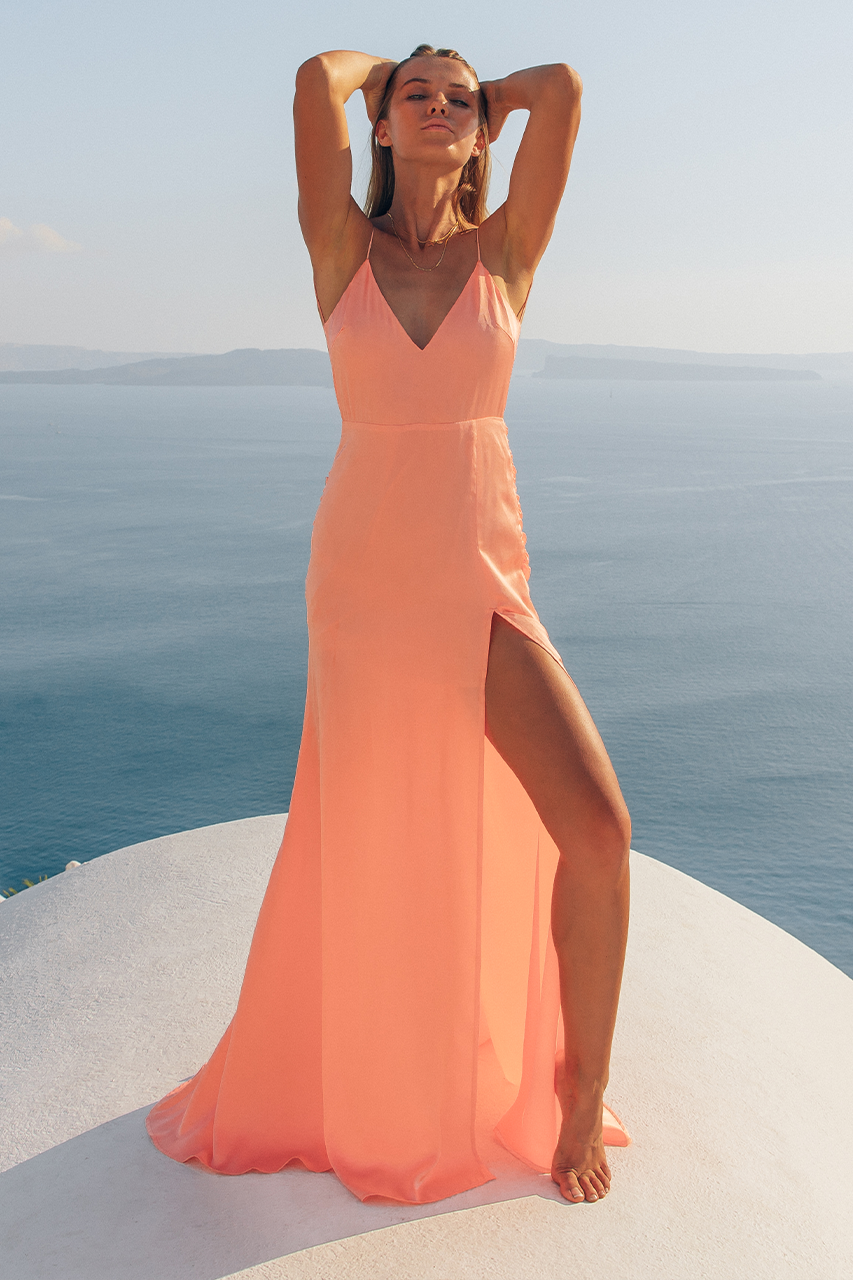 ADELINE MAXI DRESS - PEACH