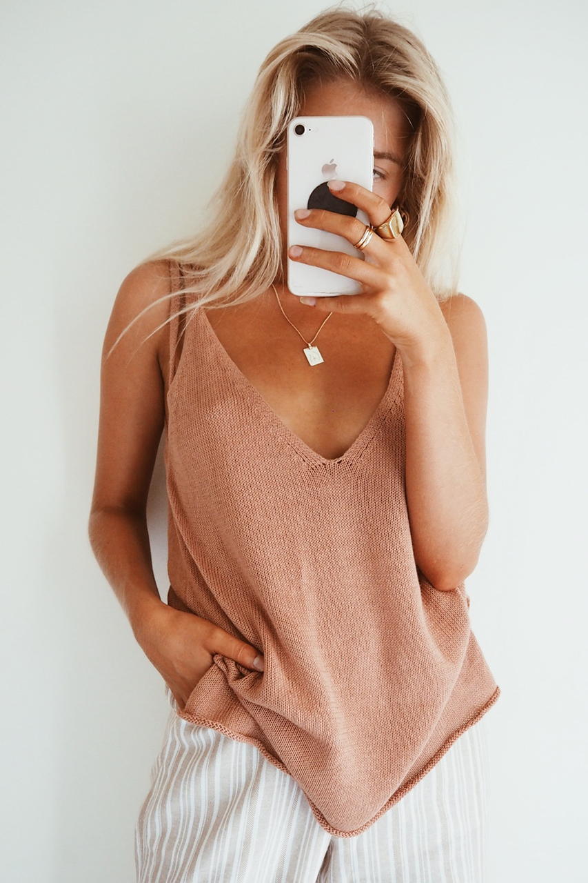 ELLIE KNIT CAMI - BRONZE
