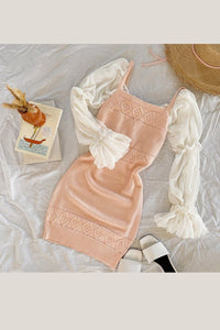 Rose Knit Dress - Light Pink