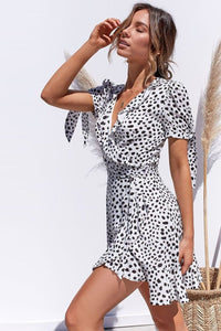 Piper Mini Wrap Dress-White Spot