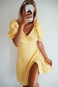 MEGAN WRAP DRESS - YELLOW