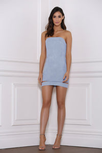 Raine Suede Mini Dress - Sky