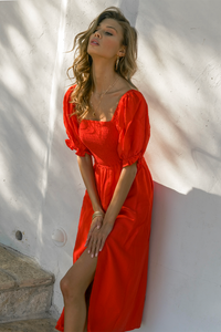Brinley Midi Dress - Red