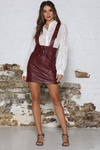 Sandy Suspender Skirt - Burgundy