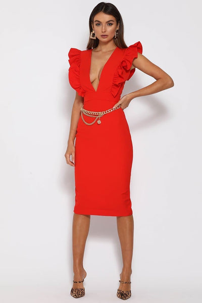 Frill plunge midi dress-red