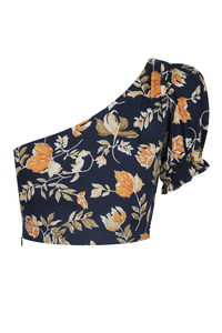 Elena One Shoulder Top - Navy Floral
